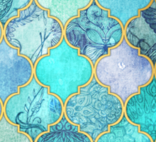 Cool Jade & Icy Mint Decorative Moroccan Tile Pattern Sticker