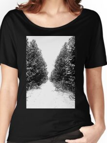 Winter Trail In Black And White Women's Relaxed Fit T-Shirt