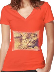 Retro Kitten Photo 2 Women's Fitted V-Neck T-Shirt