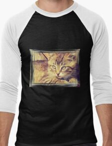 Retro Kitten Photo 2 Men's Baseball ¾ T-Shirt