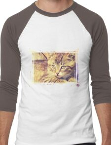 Retro Kitten Photo 2 Men's Baseball ¾ T-Shirt