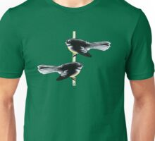 Piwakawaka Pair (on green) Unisex T-Shirt