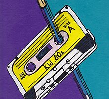 Kid 80s - Cassette Tape Rewind with Pen by ogelstudio