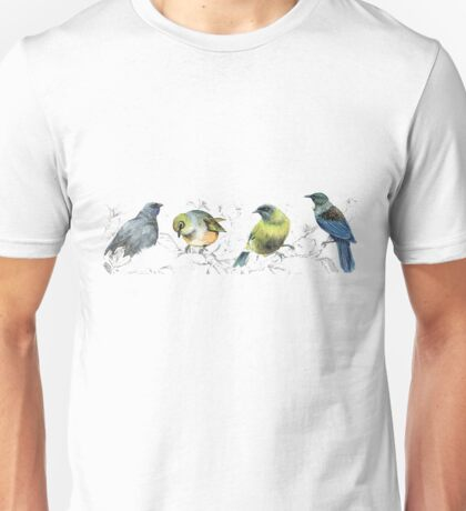 Mr Kokako, Mr Tui, Mr Sylvereye, Mr bellbird on a branch Unisex T-Shirt