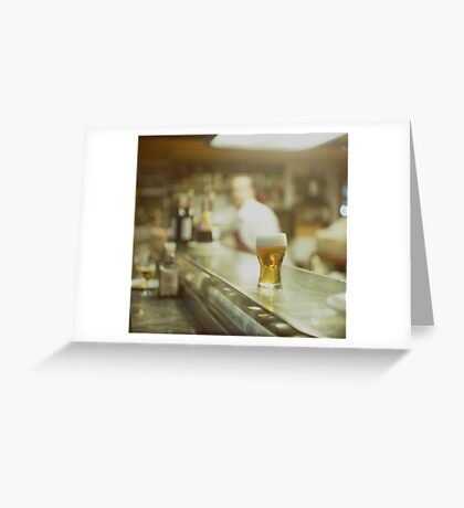 Glass of beer in Spanish tapas bar square Hasselblad medium format  c41 color film analogue photograph Greeting Card