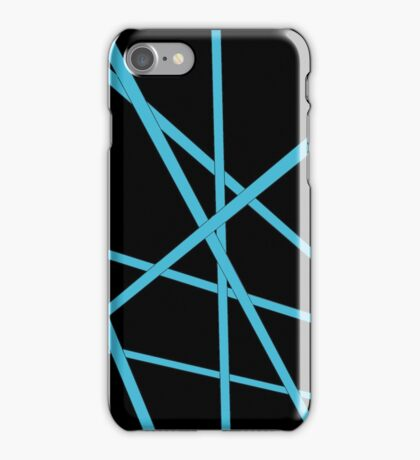Light blue stripes with black background iPhone Case/Skin