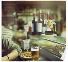Man tapas and glass of beer in Spanish bar square Hasselblad medium format  c41 color film analogue photo Poster