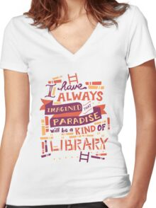Library Women's Fitted V-Neck T-Shirt
