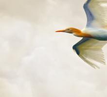 Egret In The Sky Sticker