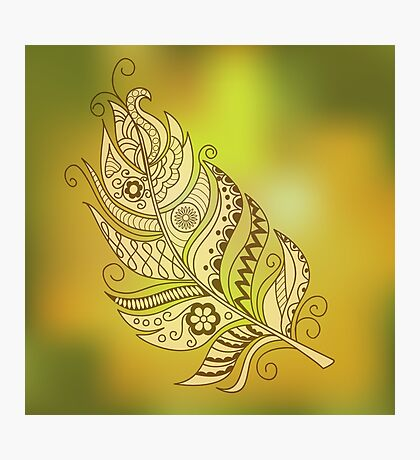 gold feather Photographic Print