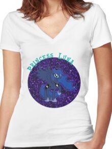 PrincessLunaGlitter Women's Fitted V-Neck T-Shirt
