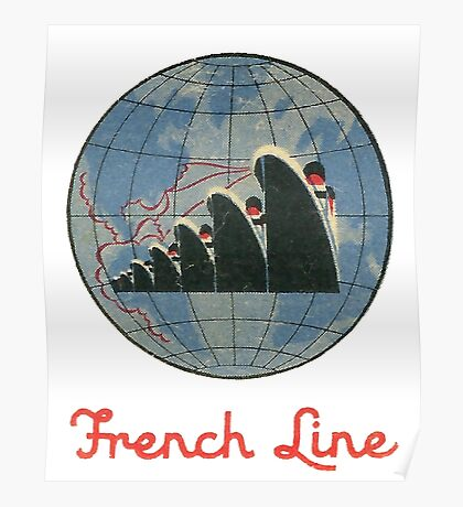 French Line Steamship Poster