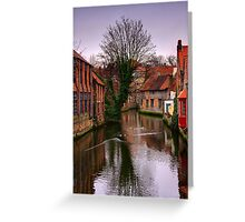 Evening on a Belgian Canal Greeting Card