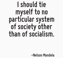 I should tie myself to no particular system of society other than of socialism. by Quotr