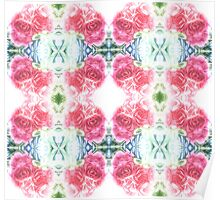 Bed of Pink Red Roses Poster