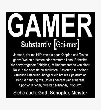 Gamer Definition Photographic Print