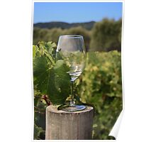 Wine glass on a log Poster