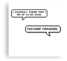 I Solemnly Swear- Mischief Managed Pixel Bubble Canvas Print