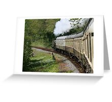 Steam Train in full steam Greeting Card