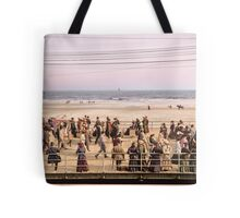 Along the beach, Atlantic City, NJ 1905 Colorized Tote Bag