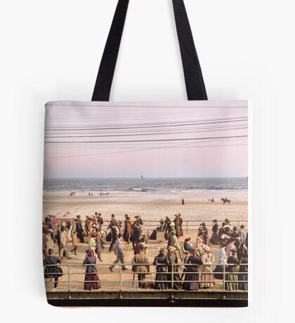 Along the beach, Atlantic City, NJ 1905 Colorized Tote Bag