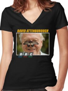 david attenborough Women's Fitted V-Neck T-Shirt