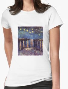 Starry Night over the Rhone, Vincent van Gogh. Womens Fitted T-Shirt