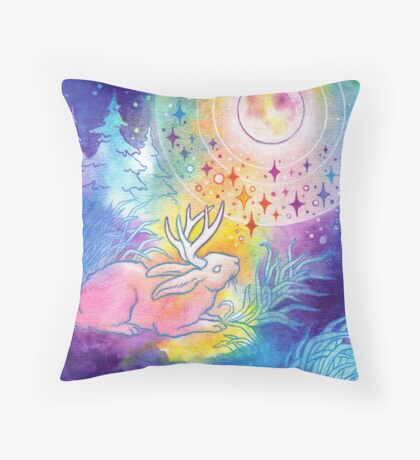 Jackalope of the Night Throw Pillow