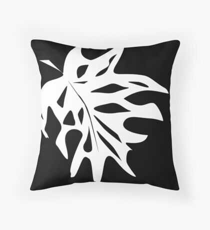 A white sheet of monstera on black background .  Throw Pillow