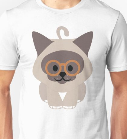 Birman Cat Emoji Nerdy Glasses Look Unisex T-Shirt
