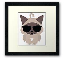 Birman Cat Emoji Cool Sunglasses Look Framed Print