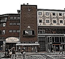Broadgate, Coventry, Woodcut by coventryartist
