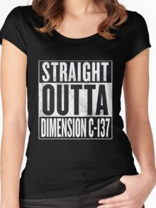 Rick and Morty - Straight Outta Dimension C-137 Women's Fitted Scoop T-Shirt