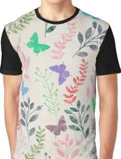 Watercolor Floral and Butterfly II Graphic T-Shirt