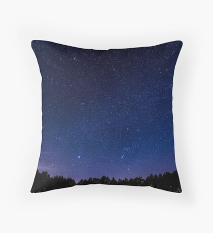 Galaxy Forest Silhouette Throw Pillow