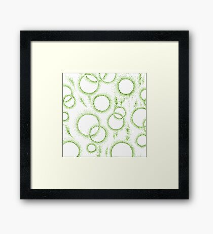Retro Dots in Green Framed Print