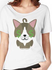 American Short Hair Cat Emoji Money Face Women's Relaxed Fit T-Shirt
