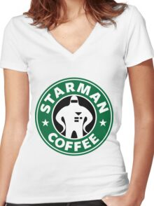 Starman Coffee Women's Fitted V-Neck T-Shirt