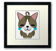 American Short Hair Cat Emoji Teary Eyes with Joy Face Framed Print
