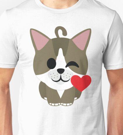 American Short Hair Cat Emoji Flirt and Blow Kiss Face Unisex T-Shirt