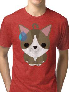 American Short Hair Cat Emoji Sweat and Speechless Look Tri-blend T-Shirt