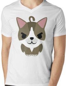 American Short Hair Cat Emoji Naughty and Cheeky Look Mens V-Neck T-Shirt