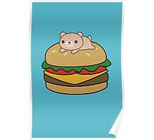 Cute and kawaii bear on a burger Poster
