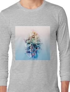 Digitally enhanced image Of a woman riding a bicycle  Long Sleeve T-Shirt