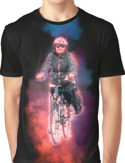 Digitally enhanced image Of a woman riding a bicycle  Graphic T-Shirt