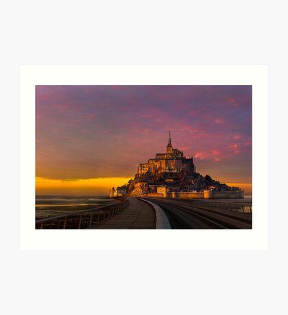 Mont Saint Michel - Golden Sunset Art Print