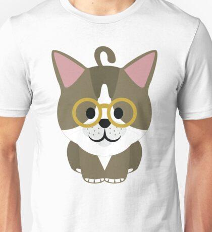 American Short Hair Cat Emoji Nerdy Noob Spectacles Look Unisex T-Shirt