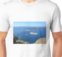 Sailing ships in the Aegean sea in Santorini, Greece Unisex T-Shirt