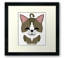 American Short Hair Cat Emoji Happy with Joy Face Framed Print