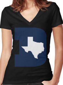 D Texas (Blue/White) Women's Fitted V-Neck T-Shirt